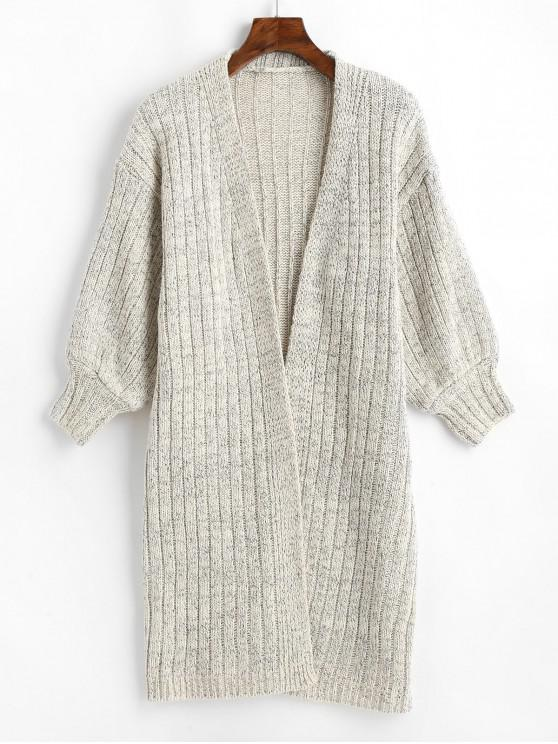 outfits Drop Shoulder Ribbed Knit Longline Cardigan - GRAY ONE SIZE