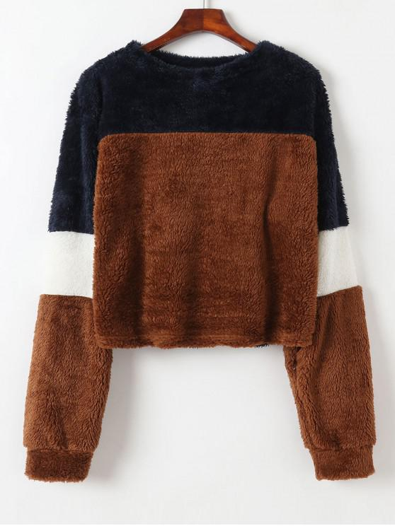 shop Color Block Fluffy Teddy Sweatshirt - BROWN L