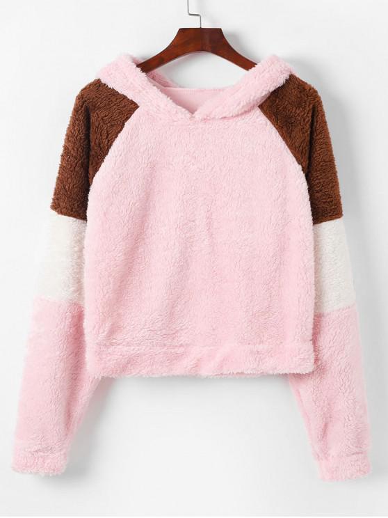 shops Raglan Sleeve Fluffy Color Block Teddy Hoodie - ROSE M