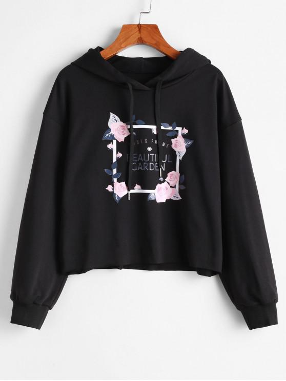 lady ZAFUL Drawstring Beautiful Garden Rose Graphic Hoodie - BLACK S