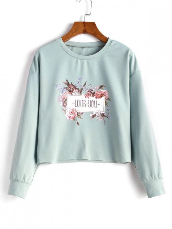 hot ZAFUL Raw Hem Floral Graphic Sweatshirt - CYAN OPAQUE XL