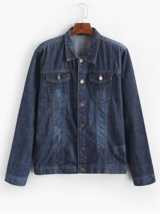 hot Flap Pocket Scratch Casual Denim Jacket - DARK SLATE BLUE M