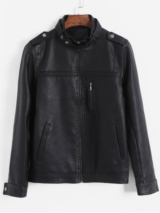 women Pleated Solid Color Faux Zipper Pocket PU Jacket - BLACK M