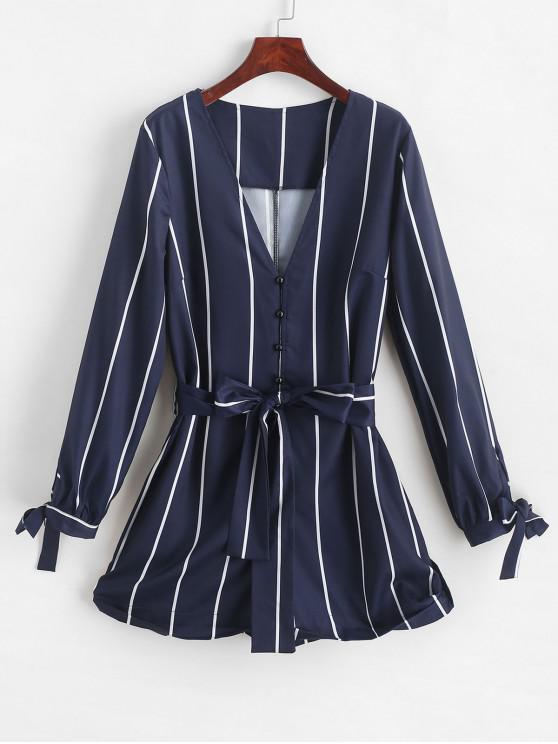 shop ZAFUL Button Loop Tied Sleeve Stripes Romper - MIDNIGHT BLUE XL