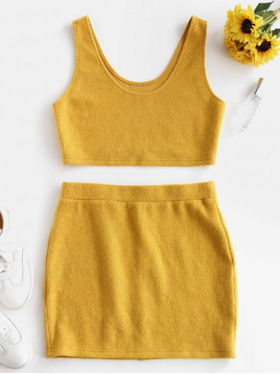 hot ZAFUL Crop Top and Mini Skirt Ribbed Knitwear Set - BEE YELLOW L