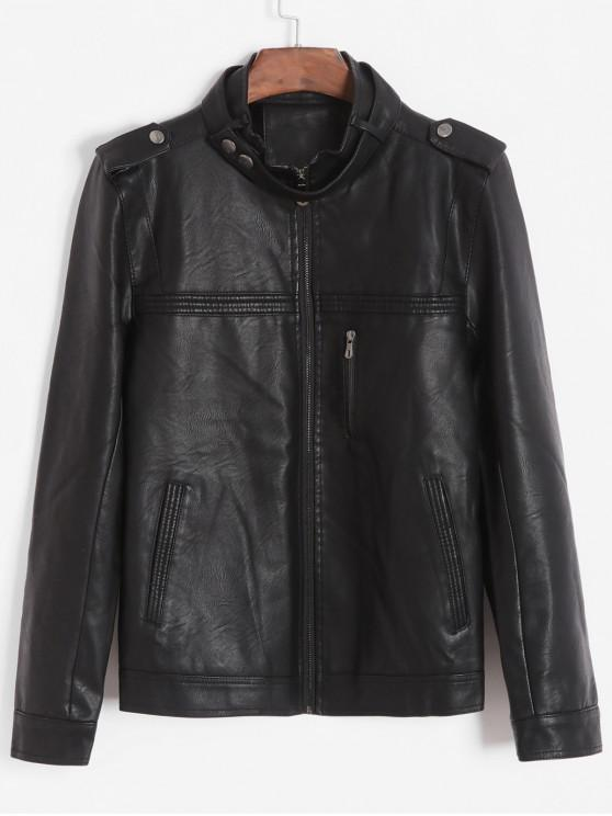 affordable Pleated Solid Color Faux Fur Inside Lining PU Jacket - BLACK XS