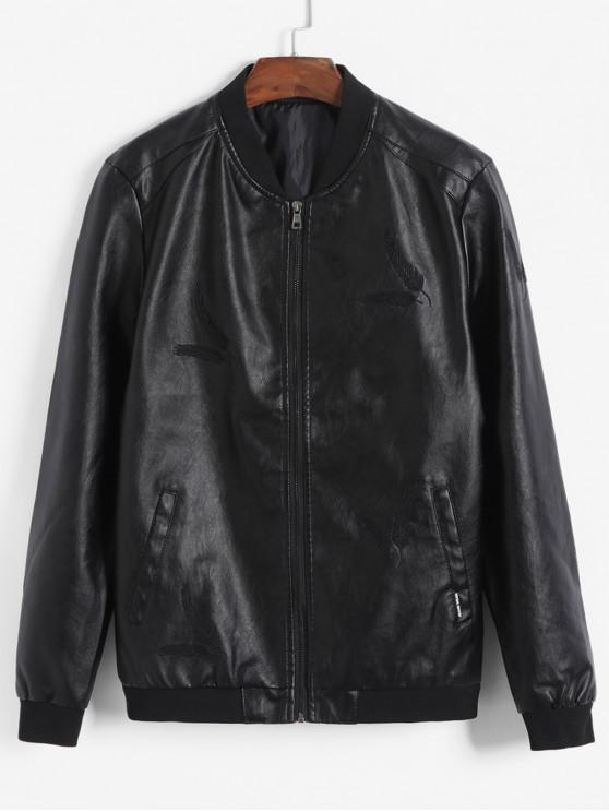 womens Feather Embroidery Solid Color PU Jacket - BLACK S