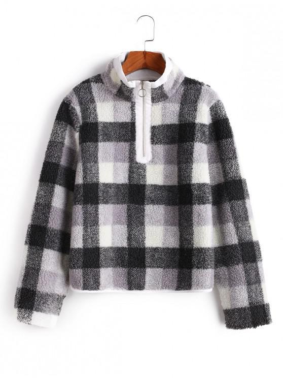 ZAFUL Sweatshirt Fourré Demi-zip à Carreaux à Col Haut - Multi L