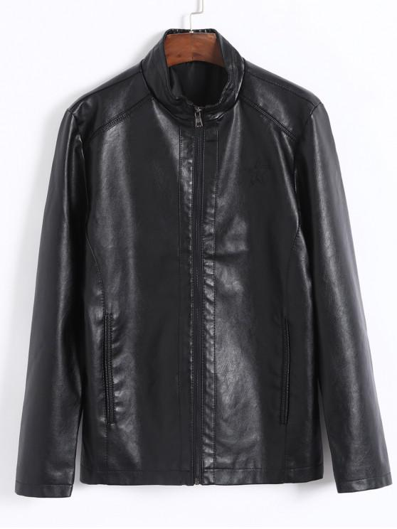 chic Faux Leather Star Design Solid Color Jacket - BLACK XS