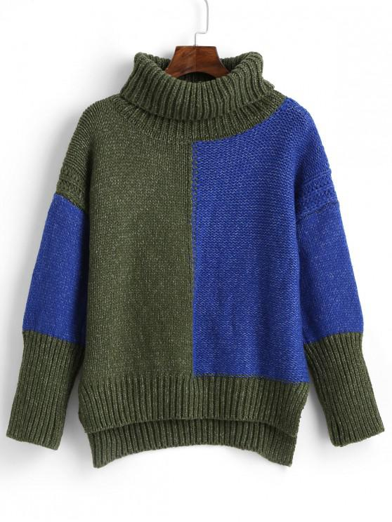 affordable ZAFUL High Low Color Block Turtleneck Sweater - MULTI S