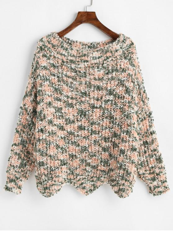 ladies ZAFUL Wave Hem Contrast Chunky Sweater - MULTI M