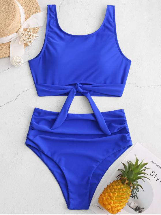 fancy ZAFUL Knotted Hem Ruched Tankini Swimsuit - BLUEBERRY BLUE XL