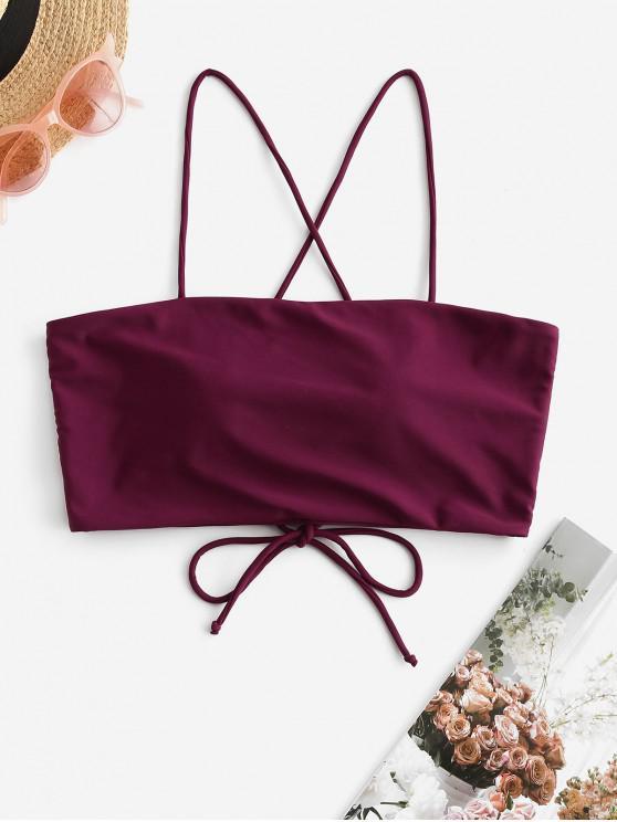 hot ZAFUL Lace Up Cami Padded Bikini Top - PLUM PIE L