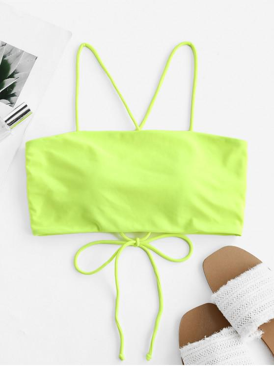 fashion ZAFUL Lace Up Cami Padded Bikini Top - CHARTREUSE 2XL