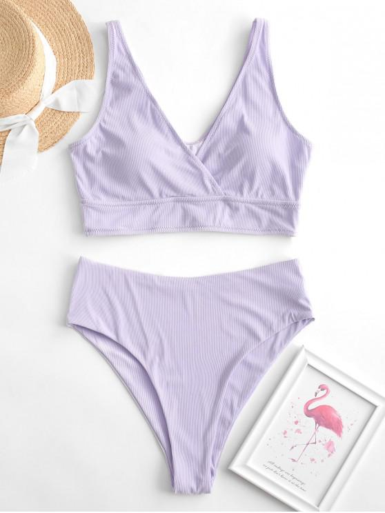 new ZAFUL Surplice Ribbed High Cut Tankini Swimsuit - LAVENDER BLUE S