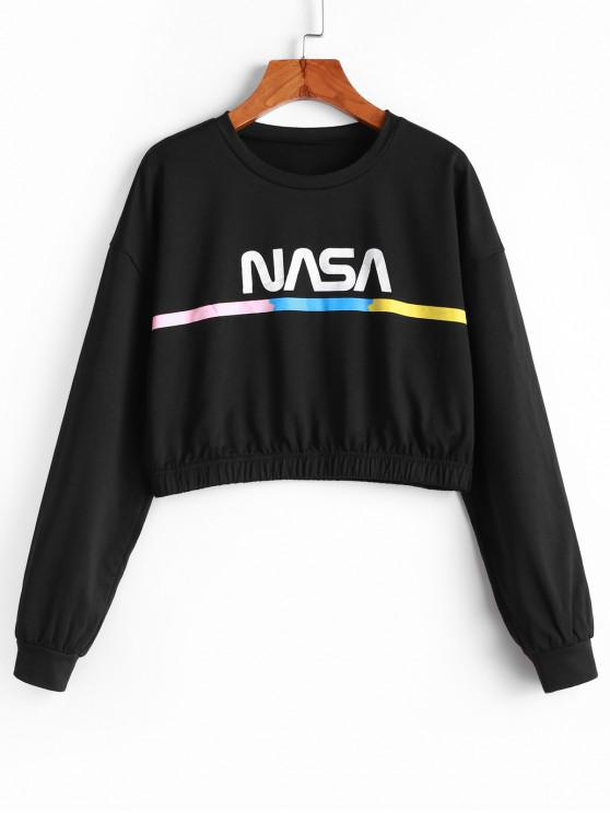 ZAFUL Sweat-shirt Court Lettre Graphique Coloré - Noir S