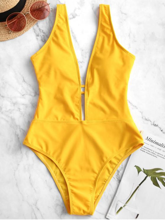 affordable ZAFUL Plunging Padded One-piece Swimsuit - BRIGHT YELLOW M