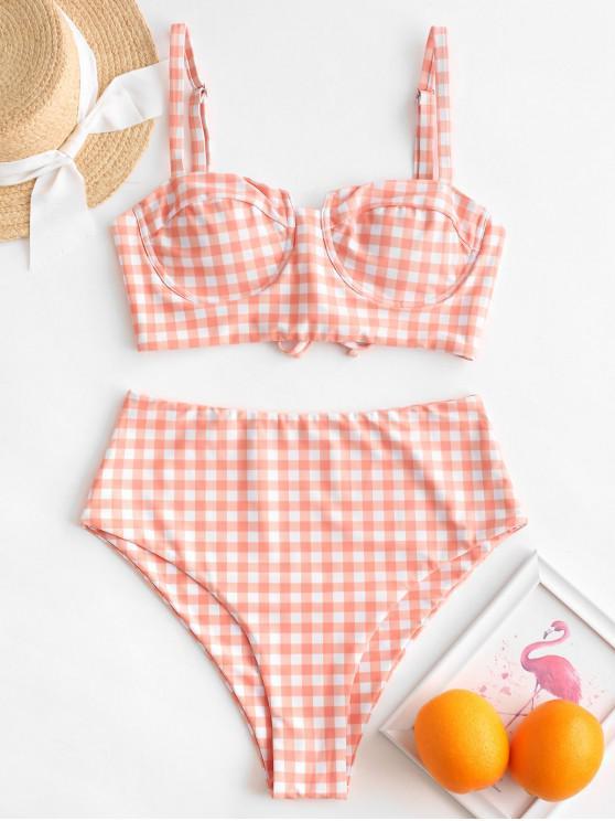 hot ZAFUL Plaid High Cut Push Up Lace Up Tankini Swimsuit - LIGHT SALMON M