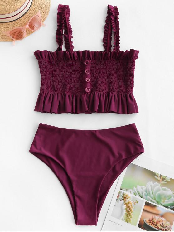 affordable ZAFUL Smocked Ruffle Frilled High Cut Tankini Swimsuit - FIREBRICK M