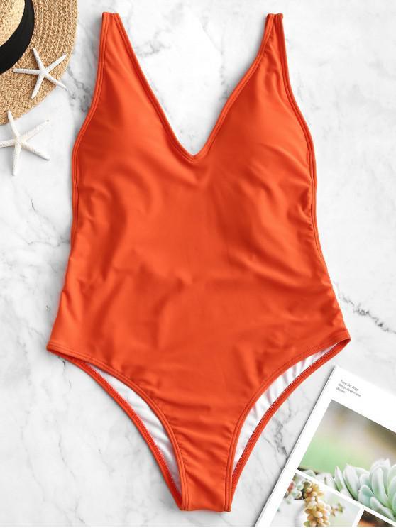 lady ZAFUL Dual Strap Backless One-piece Swimsuit - ORANGE S