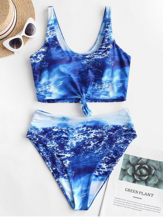 outfit ZAFUL Knot Seawater Print Tankini Swimsuit - OCEAN BLUE L