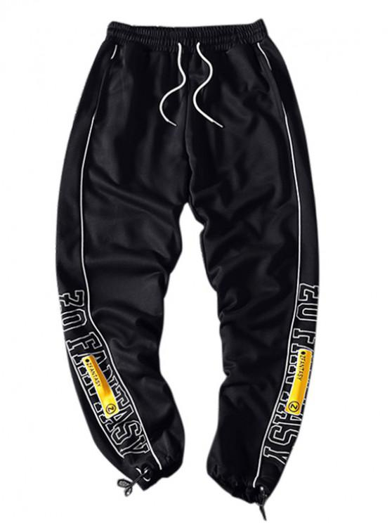trendy Letter Graphic Print Contrast Trim Sport Jogger Pants - BLACK M