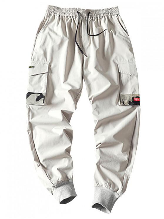 buy Camouflage Patched Pockets Drawstring Cargo Pants - LIGHT GRAY S