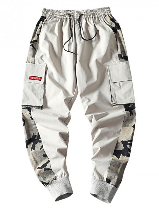 online Camouflage Print Splicing Applique Flap Pocket Jogger Pants - LIGHT GRAY S