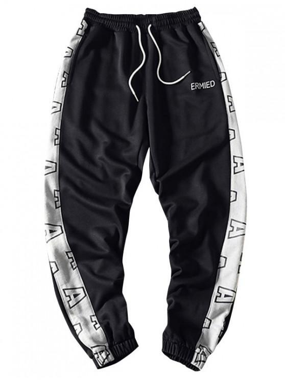 fashion Letter Graphic Print Contrast Color Spliced Sport Jogger Pants - BLACK S