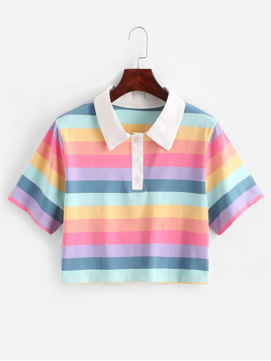 hot Rainbow Striped Half Button Crop Tee - MULTI M