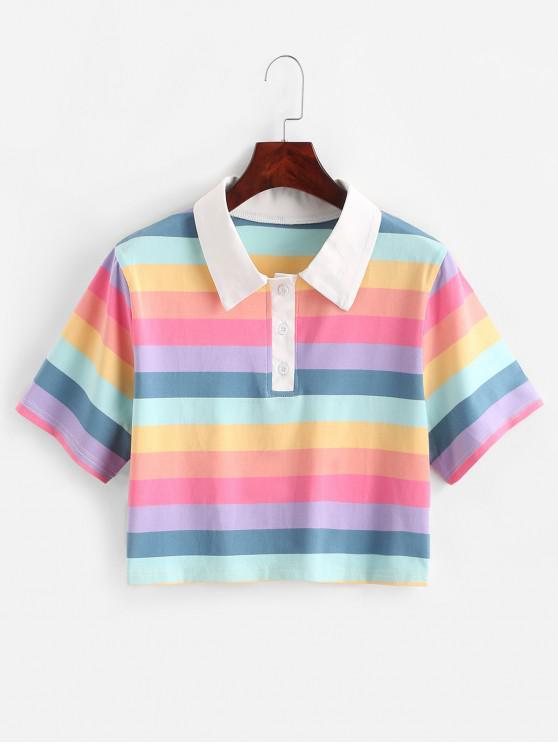 Camiseta corta de medio botón a rayas Rainbow - Multicolor XL