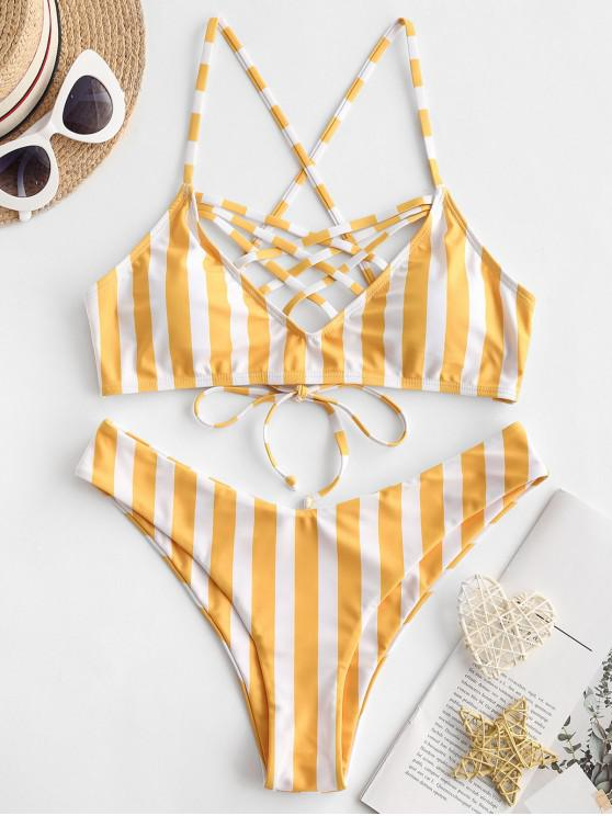 ladies ZAFUL Caged Striped Criss Cross Bikini Swimsuit - MULTI-A M