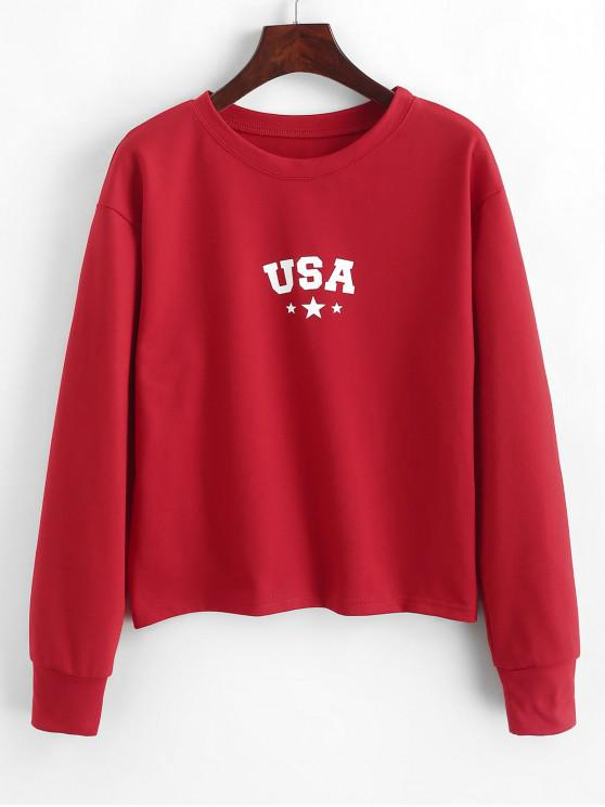 outfits ZAFUL Pullover American Flag Star Sweatshirt - LAVA RED L