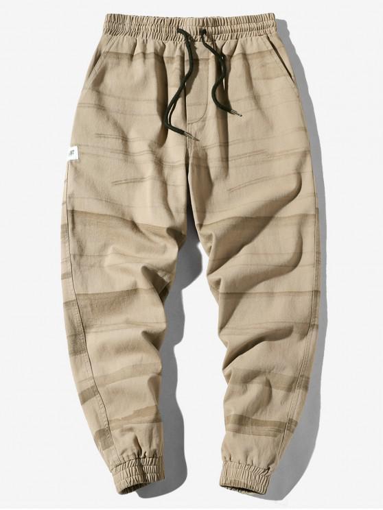 Pantalones de chándal casuales con cordón estampado a rayas con apliques - Tan 2XL