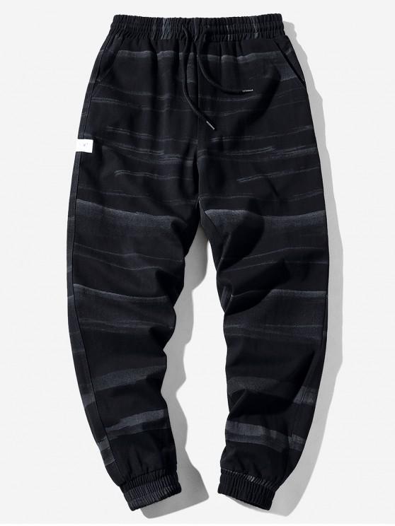 women Applique Striped Print Drawstring Casual Jogger Pants - BLACK M