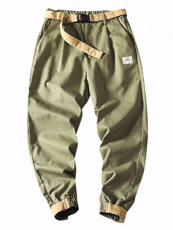 Applique Faux Back Pocket Reißverschluss Fly Cargo Jogger Pants - Armeegrün M