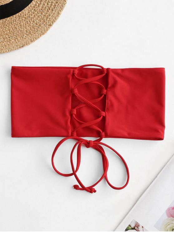 unique ZAFUL Lace-up Bandeau Bikini Top - RED L