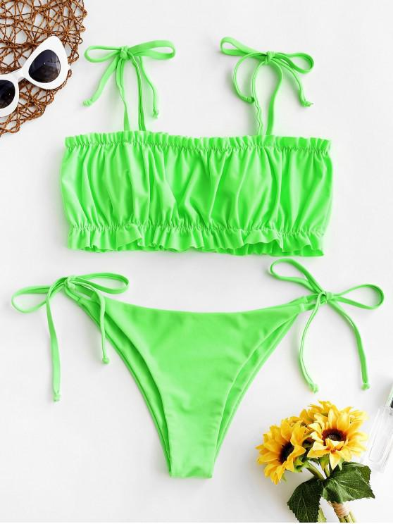 trendy ZAFUL Neon Tie Shoulder Lettuce Ruched Bikini Swimsuit - GREEN L