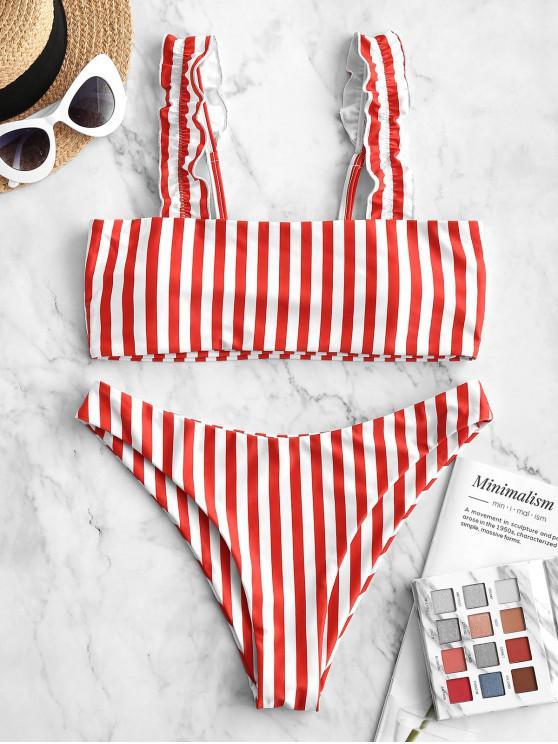 women ZAFUL Striped Lettuce Strap High Leg Bikini Swimsuit - RED S