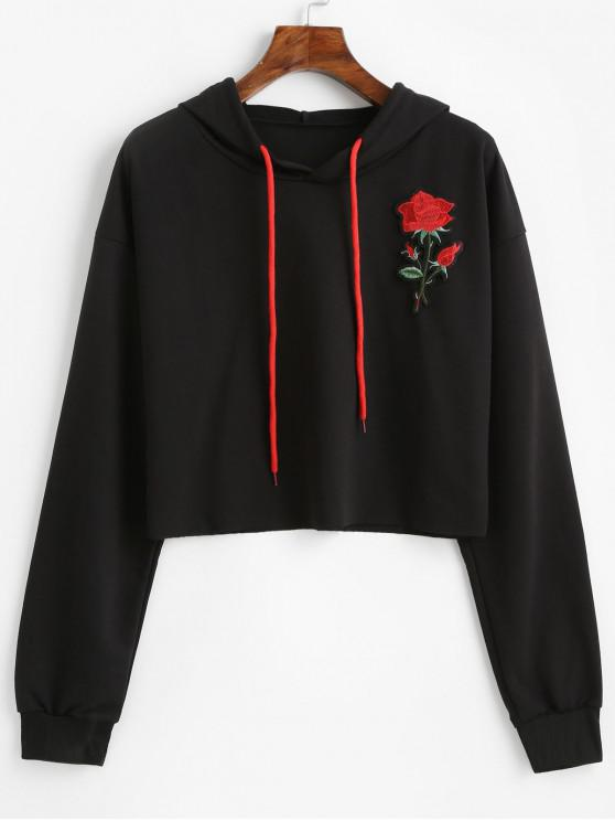 shops Rose Applique Raw Cut Drop Shoulder Hoodie - BLACK M