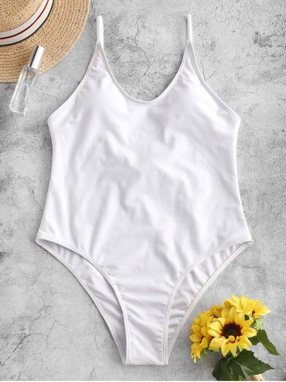 shop ZAFUL Cami Backless One-piece Swimsuit - WHITE L