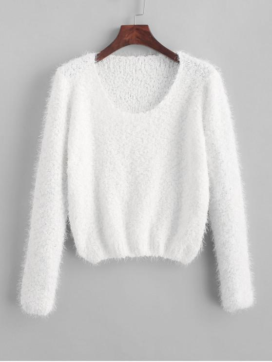 lady Solid Fuzzy Pullover Sweater - WHITE ONE SIZE