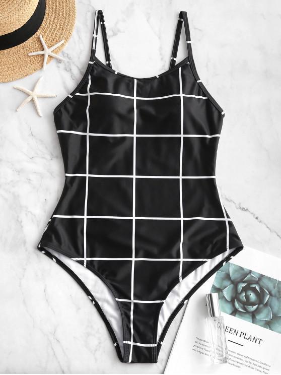 womens ZAFUL Grid Open Back One-piece Swimsuit - BLACK L