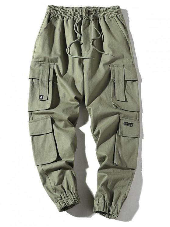 shop Pocket Drawstring Jogger Cargo Pants - ARMY GREEN 3XL