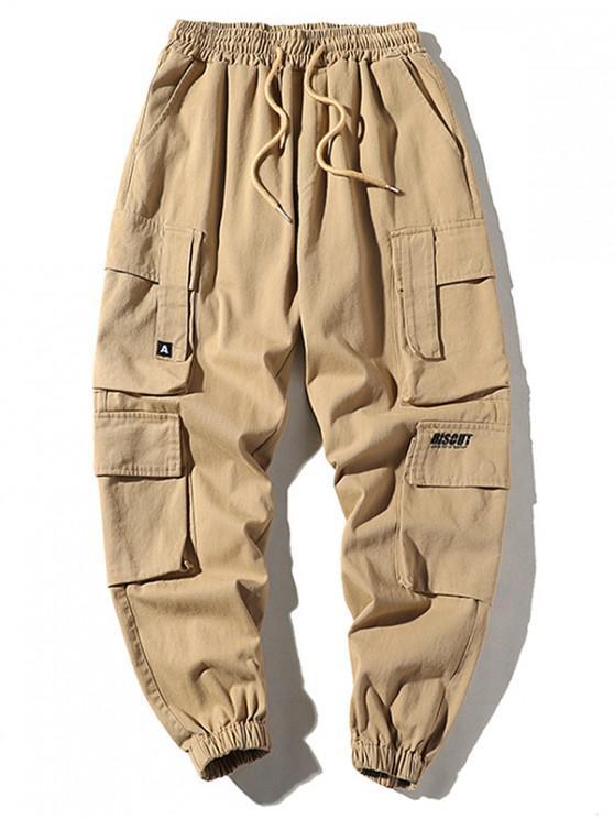 Bolsillo del pantalón con cordón del basculador de Carga - Caqui Claro XL