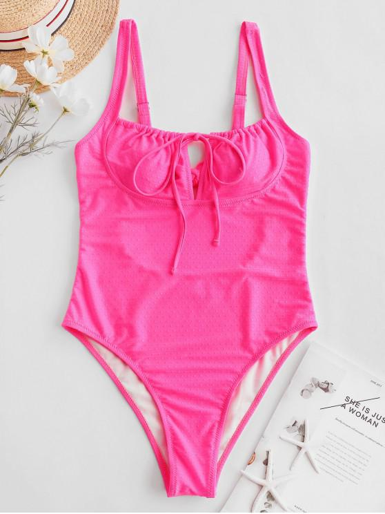ladies ZAFUL Neon Tie Cutout High Cut One-piece Swimsuit - HOT PINK S