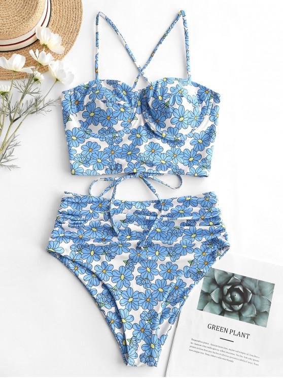 women ZAFUL Floral Underwire Lace Up Tummy Control Tankini Swimsuit - MULTI-A L