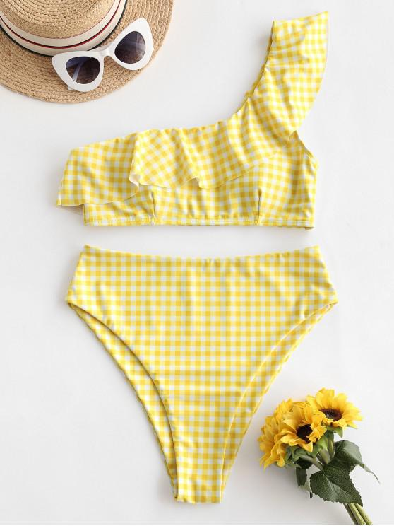 chic ZAFUL Plaid One Shoulder Flounce High Cut Tankini Swimsuit - CORN YELLOW XL