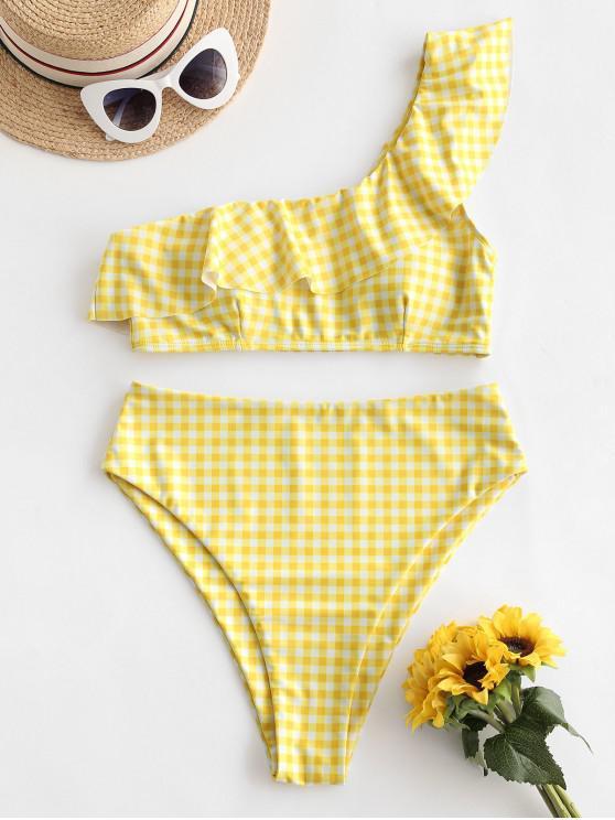 buy ZAFUL Plaid One Shoulder Flounce High Cut Tankini Swimsuit - CORN YELLOW M