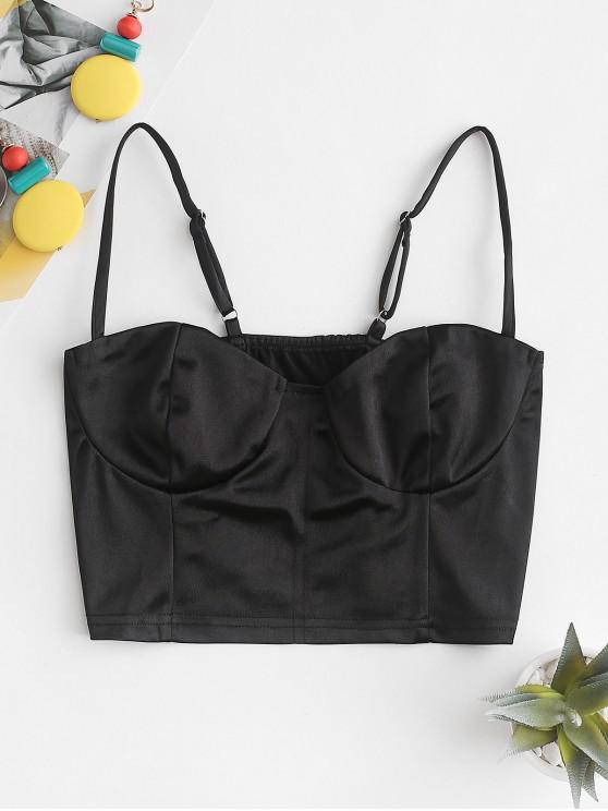 women's Cropped Neon Bustier Cami Top - BLACK M
